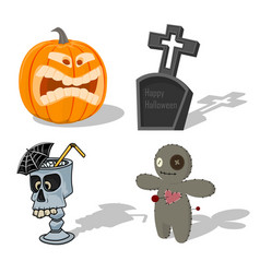 Scary halloween signs pumpkin voodoo doll vector