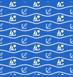 Seamless pattern with ropes and boats ongoing vector