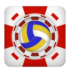 Square red casino chips of volleyball sports vector