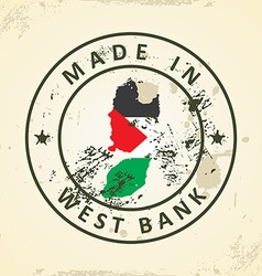 Stamp with map flag of West Bank vector image