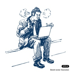 Stressed man sitting on step with laptop vector image