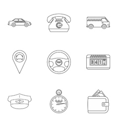 Taxi custom icons set outline style vector