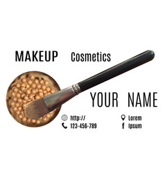 Visage of make-up artist with picture of brush vector