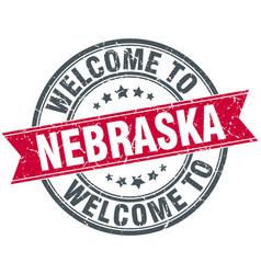Welcome to nebraska red round vintage stamp vector