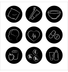 9 health icons medicine medical signs vector