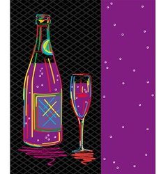 Champagne card vector
