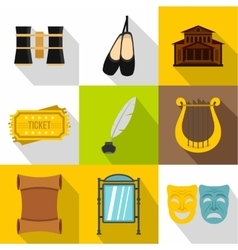 Entertainment in theatre icons set flat style vector