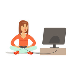 Woman sitting on the floor with joystickpart of vector