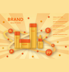 Cream bottle with ingredients on the bubbles vector