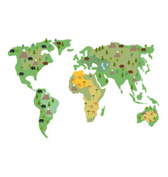 Map of earth animals isolated continents and vector