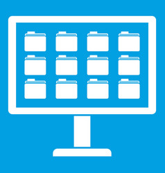 Desktop of computer with folders icon white vector
