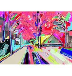 digital painting of winter landscape vector image