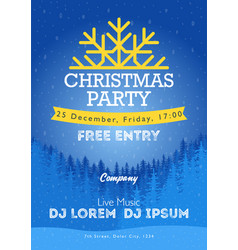 Christmas night party poster or flyer merry vector