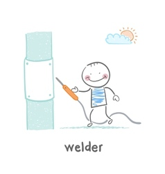 welder near pipes with welding machine vector image