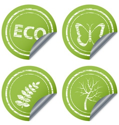 Scratched eco stickers vector