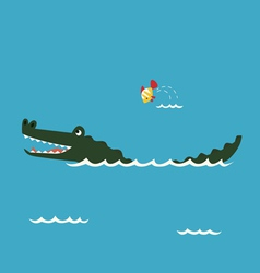 Alligator and little fish vector