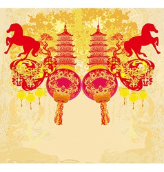 Chinese mid autumn festival and new year design vector