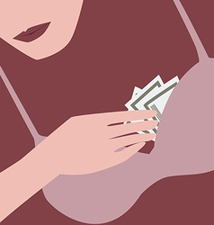Woman with money vector