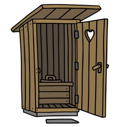 Funny old wooden toilet vector