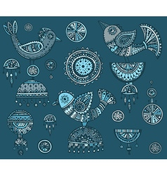 Set of hand drawn fancy birds in ethnic ornate vector