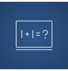 Maths example written on blackboard line icon vector