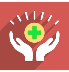 Medical prosperity flat longshadow square icon vector