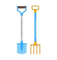 Gardening shovel and rake groundworks tools vector