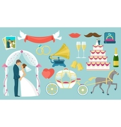 Flat wedding icon set vector