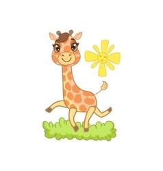 Giraffe walking outside vector