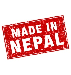 Nepal red square grunge made in stamp vector