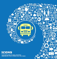 Bus icon nice set of beautiful icons twisted vector