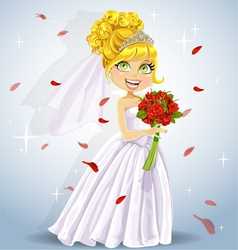 Wonderful shining bride with bouquet vector