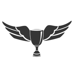 Trophy cup wings icon vector