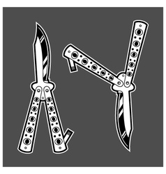 Balisong butterfly knife dagger duo vector