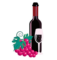 A glass of wine and a bottle vector