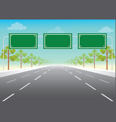 blank road sign on highway vector image vector image