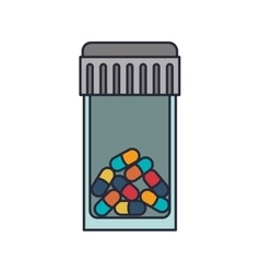bottle with tap and colorful pills vector image vector image