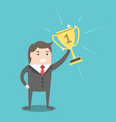 businessman holding winner cup vector image