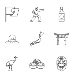 Country japan icons set outline style vector
