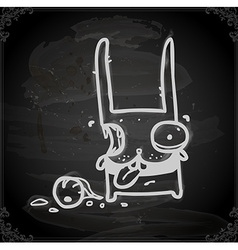 Decapitated bunny drawing on chalk board vector