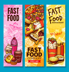 Fast food sketch welcome or menu banners vector
