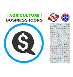 Financial message balloon rounded icon with set vector