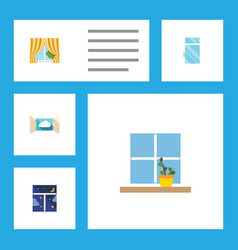 flat icon window set of glass frame cloud vector image vector image