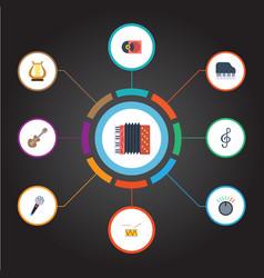Flat icons karaoke tambourine octave keyboard vector