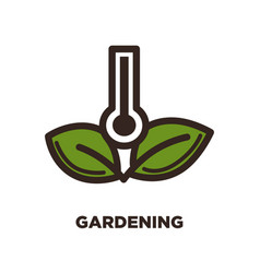 Gardening logo design with thermometer and two vector