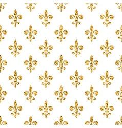 Golden fleur-de-lis seamless pattern white 1 vector