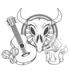 guitar maracas cow skull on a wheel coloring of a vector image