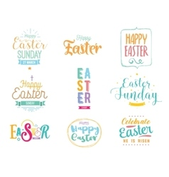 Happy Easter typography design set Isolated vector image