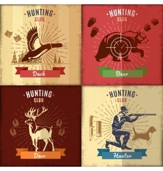 Hunting club emblems set vector