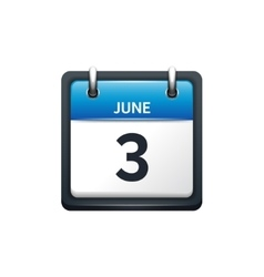 June 3 calendar icon flat vector